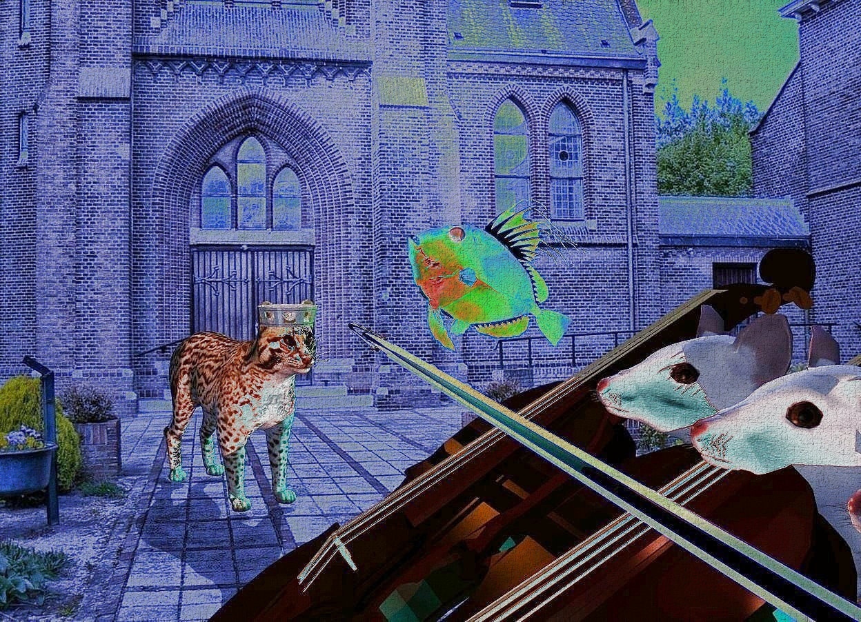Input text: 3 huge mice lean back . 3 violins are -.9 feet in front of and -1.2 feet above the mice. the violins lean 35 degrees to the front. a large silver violin bow is in front of and -.4 feet above the mice. it leans 57 degrees to the front. a 1 feet tall cat is 2.1 feet left of and .1 feet in front of the mice. it faces the mice. a tiny metal crown is -.1 feet above and -.1 feet right of and -.4 feet behind the cat. a shiny [texture] fish is -.6 feet above and .2 feet behind the cat. it leans 37 degrees to the back. the camera light is dim. a aqua light is right of the mice. the sun is black. a cyan light is right of the fish. sun is cobalt blue. a dim orange light is 1 feet left of the cat.a copper light is -2 feet left of and -1 feet above the violins. ambient light is indigo blue. a mustard yellow light is -2 inch above the crown