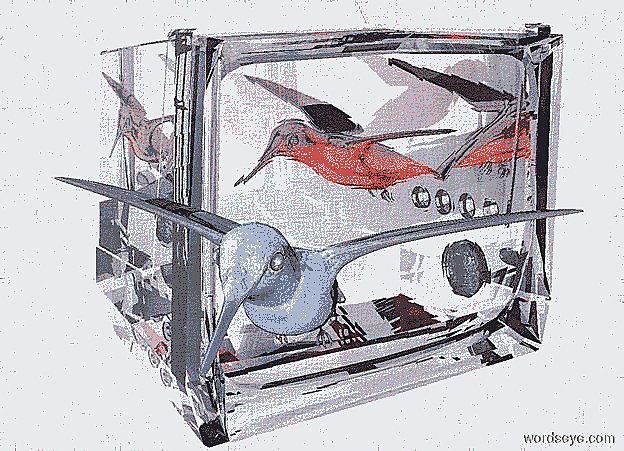 Input text: a 120 inch tall clear white  television.sky is white.ground is invisible.the television is facing southeast.a 1st 25 inch tall  shiny hummingbird is -115 inch above the television.the 1st hummingbird is facing southwest.the 1st hummingbird leans 40 degrees to the front.the 1st hummingbird is -87 inch right of the television.three red lights  are 5 inch right of the 1st hummingbird.a 2nd 20 inch tall shiny delft blue hummingbird is 10 inch in front of the television.the 2nd hummingbird is -105 inch above the television.the 2nd hummingbird leans 30 inch to the front.