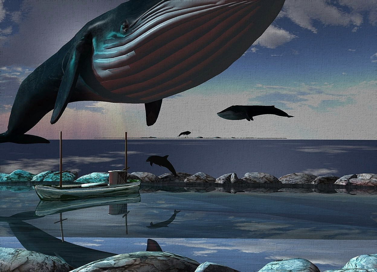Input text: Shiny black backdrop. A blue whale is leaning 10 degrees to the back. It is facing southeast. A shiny dark river is -35 feet above the whale. A cyan light is above and left of the whale. A huge whale is 40 feet above and 100 feet right of the whale. It is facing west. A 25% dark 50% shiny lime boat is -8 feet above the river. It is facing southwest. The sun is silver.  A dolphin is right of and -8 feet above the boat. It is facing southwest. Camera light is black. A maroon light is left of and above the river.