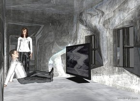 a shiny factory.a shiny man is -20 feet right of the factory.he is 2 inches above the ground.a shiny woman is right of the man.she is facing the man.a large tv is 2 feet in front of the man.it is facing the man.the backdrop is grey.