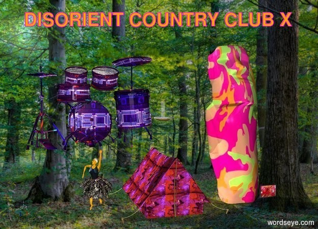 Input text:  forest backdrop. [ppl] art. [dis] tent.  decoration. [discamo] big idol is to the left of the art.  orange dancer is to the left of the tent. ceiling light is three feet above tent.   large [signage] drum kit above dancer.