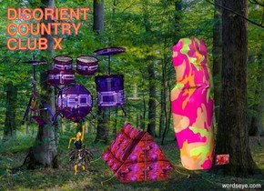 forest backdrop. [ppl] art. [dis] tent.  decoration. [discamo] big idol is to the left of the art.  orange dancer is to the left of the tent. ceiling light is three feet above tent.   large [signage] drum kit above dancer.