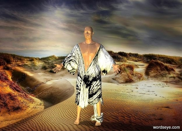 Input text: a animal man.desert backdrop.a lemon light is 1 feet in front of the man.