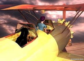 a shiny biplane.it is 10 feet above the ground.a small woman is -40 inches above the biplane.she is -70 inches in front of the biplane.sky backdrop.pink sun.a 1.5 feet tall dog is 1.2 feet behind the woman.the biplane is [abstract].