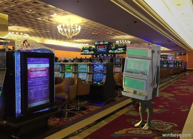 Input text: A 50% dark shiny slot machine is in casino. A 5 feet high 70% dark cream man is -5 feet above and -1.5 foot in front of the slot machine. Camera light is black. A lemon light is left of and in front of the slot machine.