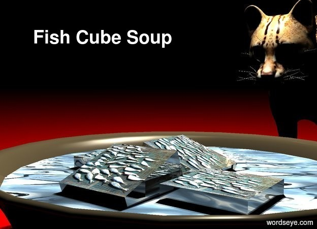 Input text: a 10 foot wide and 3 foot tall and 10 foot deep dark dull bowl. an 9 foot wide and 9 foot deep and .01 foot tall  circle is -.5 feet above the bowl. the circle is 8 foot wide [water].a 1st 1.8 foot tall shiny [fish] cube is -1.5 feet above the circle. it leans to the left. a 2nd 1.8 foot tall shiny [fish] cube is -.3 feet in front of and -.1 foot right of the cube. a 3rd 1.8 foot tall shiny [fish] cube is in front of the 1st cube. it leans to the front. a 4th 1.8 foot tall shiny [fish] cube is -.2 feet left of and -.5 feet behind the cube. a 10 foot tall cat is behind the bowl. it is 2 feet in the ground. it is night. a light is 1 feet above and in front of the cat. a lemon chiffon light is next to the light. camera light is black. the cat leans to the front. ground is maroon. a tiny linen light is in front of and -1 foot above the cat.