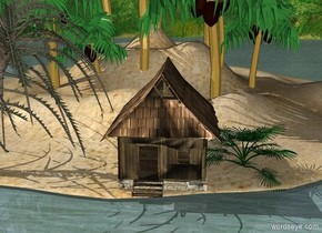 a house is -20 feet south of and -74 feet west of and -57 feet above an island. The island is -2.2 feet above the ground. a 1st palm tree is left of the house. a 2nd palm tree is -4 feet right of the house.