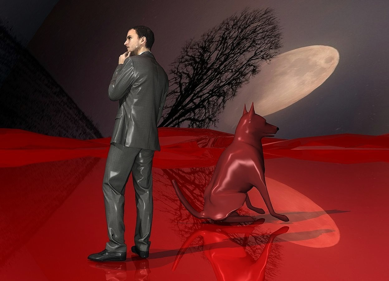 Input text: sky is [fog].sky is 4500 feet tall and 5500 feet wide.a 20 inch tall man is on the ground.ground is shiny maroon.ground is 70 feet tall.a 15 inch tall  antique lilac dog is 10 inch left of the man.the dog is facing northwest.azimuth of the sun is 120 degrees.a brown light is 20 inch above the man.