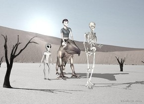 pale monster.a pale person is -22 inches above the monster.pale backdrop.a pale skeleton is 6 inches in front of the monster.the sun is pale.a linen light is in front of the skeleton.a alien is left of the monster.