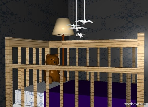 Input text: THE WHITE BACKDROP. a [wood] crib faces left. 1st nice dark dodger blue [pattern] wall is 3 feet behind the crib. 2nd flat dark dodger blue [pattern] wall faces left. it is left of the crib. the crib's mattress is [pattern]. a 1st .2 foot tall shiny white seagull is above the crib. it faces southwest. a 1st .025 foot wide and .025 foot deep and 5 foot tall white tube is -.05 feet above the seagull.  a 2nd .2 foot tall shiny white seagull is .05 foot above and -.75 foot left of the seagull. it is in front of the tube. a 2nd .025 foot wide and .025 foot deep and 5 foot tall white tube is -.05 feet above the seagull. a 3rd .2 foot tall shiny white seagull is .05 foot above and -.5 foot right of the 2nd seagull. it faces southeast. a 3rd .025 foot wide and .025 foot deep and 5 foot tall white tube is -.05 feet above the seagull. a 4th .2 foot tall shiny white seagull is above and behind  and -.5 foot left of the 2nd seagull. it faces northwest. a 4th .025 foot wide and .025 foot deep and 5 foot tall white tube is -.05 feet above the seagull.  a 1.5 foot tall teddy bear is -2.2 feet above and -1.5 foot behind and -1.5 foot left of the crib. it faces southeast.   a 5 foot tall lamp is behind the crib. it is right of the 2nd wall.