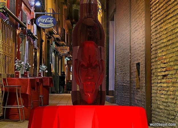 Input text: a 1.5 foot tall and .5 foot wide and .2 foot deep shiny maroon head is -3.4 feet above a 3.5 foot tall bottle. the bottle is on a red table. the head faces back. backdrop is bar. a tiny red light is -.2 foot above and -.1 foot behind the head. the label of the bottle is clear. sky is brown. a .3 foot tall white light is behind the head.