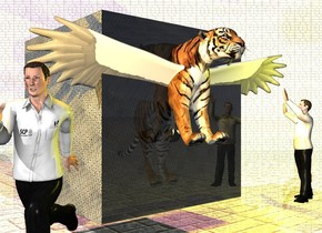 the 6 feet tall cube. the ground is 5 feet tall [tile]. the tiger is -7 feet above  and -6 feet in front of the cube. the tiger is leaning 30 degrees to the north. the cube is [metal]. the front of the cube is transparent. the 3 feet tall bird is -4 feet above and -5 feet in front of the tiger. the bird is white. the ground is shiny. the 1st 30 feet tall and 50 feet long [tile] wall is 2 feet behind and 2 feet to the right of the cube. it is -2 inches above the ground. the 1st 4 feet tall scientist is 5 inches in front of and 10 inches to the left of the cube, he is facing southwest. the 2nd 4 feet tall scientist is 0.4 inches in front of and 0.2 inches to the right of the cube, he is facing to the tiger. the wall is facing the cube. the red light is above the cube. the yellow light is above the 2nd scientist. the wall is shiny. the orange light is on the 1st scientist.