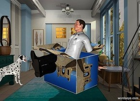 a  box.a 20 inch tall man is -10 inch above the box.the box is 12 inch wide [castle].a 9 inch tall dalmatian is 3 inch in front of the man.the dalmatian is facing the man.