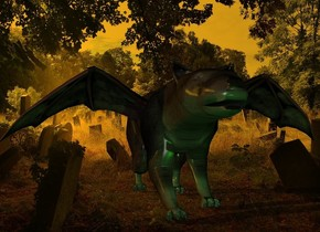 a dark hemicyon.a 1.5 feet tall bat is -18 inches above the hemicyon.a lime light is 1 feet in front of the hemicyon.cemetery backdrop.orange sun.it is dusk.