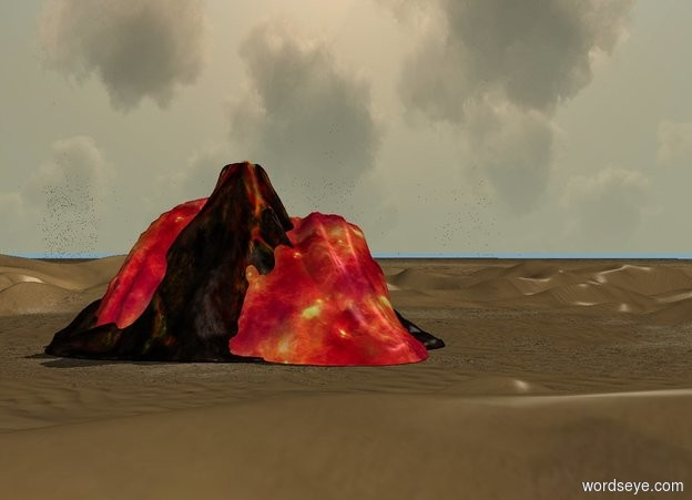 Input text: the volcano on the ground. a first 35 foot tall [fire] wave is -80 feet north of the volcano.