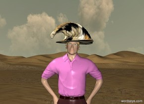 A .7 foot tall hat is -.3 feet above the man.