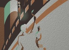 a [ad] backdrop.a 2 inch tall 70% dim orange woman.