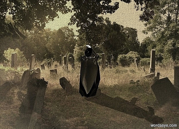 Input text: a shiny [cemetery] backdrop.sun is  sunlight yellow.a 4 inch tall shiny black man is facing north.