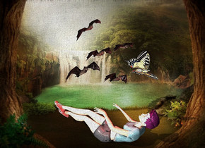fantasy backdrop.a face up woman.a large bat is 7 inches above the woman.a red light is in front of the bat.a linen light is left of the bat.a giant butterfly is 2 inches in front of the bat.it is leaning 45 degrees to the left.
