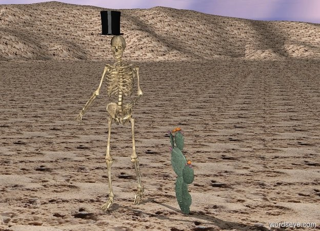 Input text: The ground is sand.   The skeleton is one foot to the left of the cactus.  The top hat is on the skeleton.