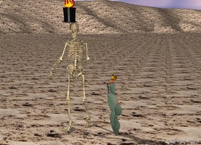 The ground is sand.   The skeleton is one foot to the left of the cactus.  The top hat is on the skeleton.  The fire is on the top hat.  The banana is on the cactus.