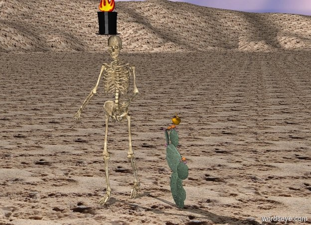 Input text: The ground is sand.   The skeleton is one foot to the left of the cactus.  The top hat is on the skeleton.  The fire is on the top hat.  The banana is on the cactus.