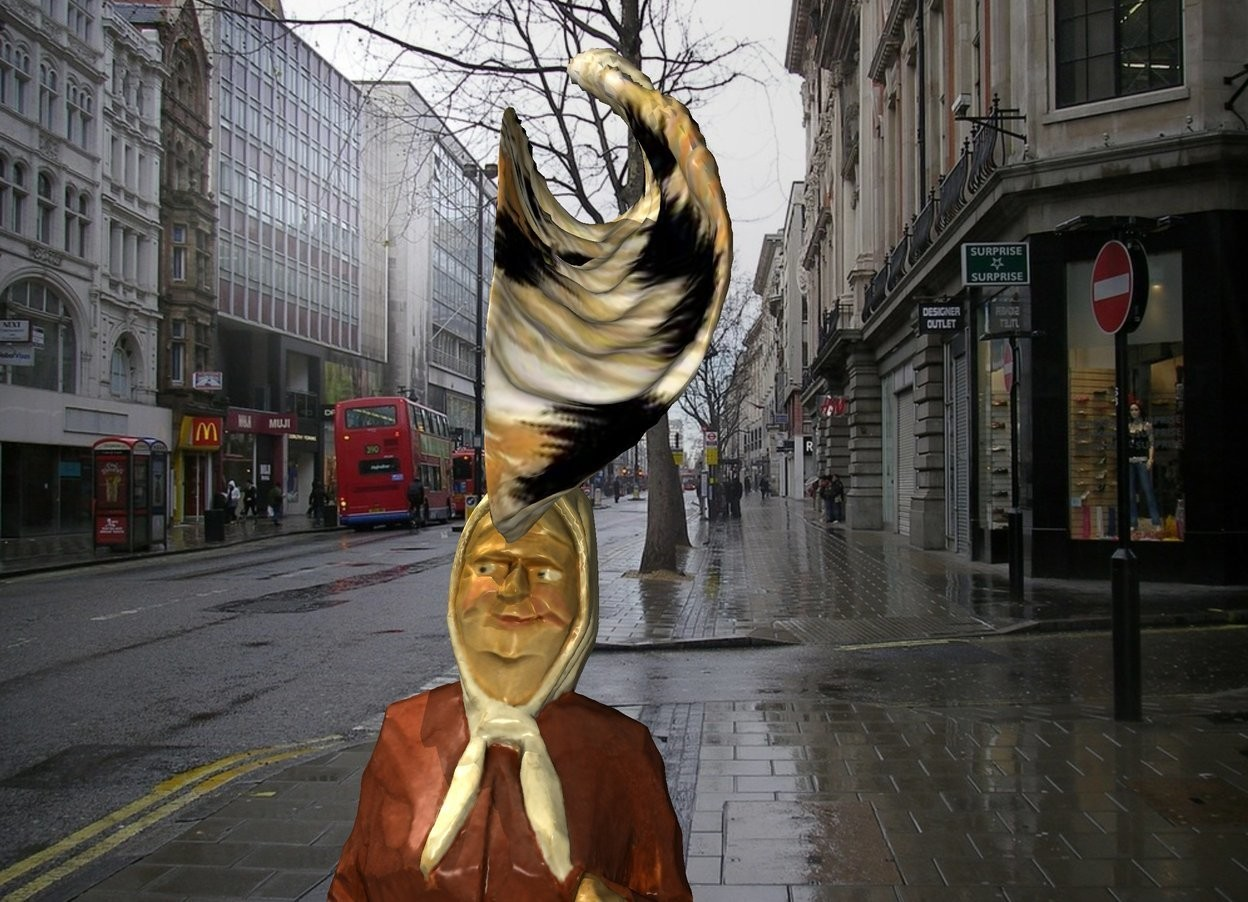 Input text: The [england] backdrop. A .7 foot tall hat is -.3 feet above and -1.6 foot to the left of the woman. it is leaning 90 degree to the left.