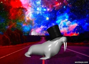 top hat  walrus  the walrus is very small  the walrus is grey  the top hat is small  the top hat is -2 inches above and -.7 feet in front of the walrus  the top hat leans 25 degrees to the back