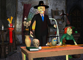 death.a table is in front of death.room backdrop.a tiny egg is on the table.a gingerbread man is 3 inches right of the egg.it is facing the egg.a skull is 6 inches left of the egg.it is behind the egg.pale shadow plane.a face up staff is 3 inches in front of the egg.it is facing left.a toy is left of the staff.a grey light is in front of the table.the toy is above the staff.a green light is 6 inches left of death.a witch is 1 feet right of death.a vase is left of the skull.the sun's altitude is 90 degrees.a face up book is 4 inches in front of the vase.a large bat is above the witch.it is facing southwest.a lime light is 3 inches right of the witch.a step ladder is 6 inches behind death.it is right of death.a red light is in front of the bat.a hamster is behind the egg.it is facing left.