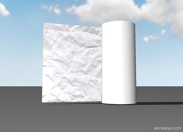 Input text: the white tube is 11 inches tall. the paper is -.5 inches behind the tube. It is -3.2 inches to the left of the tube. it is face down. it is 11 inches wide. it is 11 inches deep.