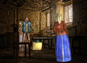 room backdrop.a woman.a man is 5 feet right of the woman.he is 7 feet in front of the woman.the man is facing the woman.a bag is behind the man.a chair is 2 feet right of the woman.it is facing southwest.the bag is left of the man.a broccoli is -8 inches above the bag.