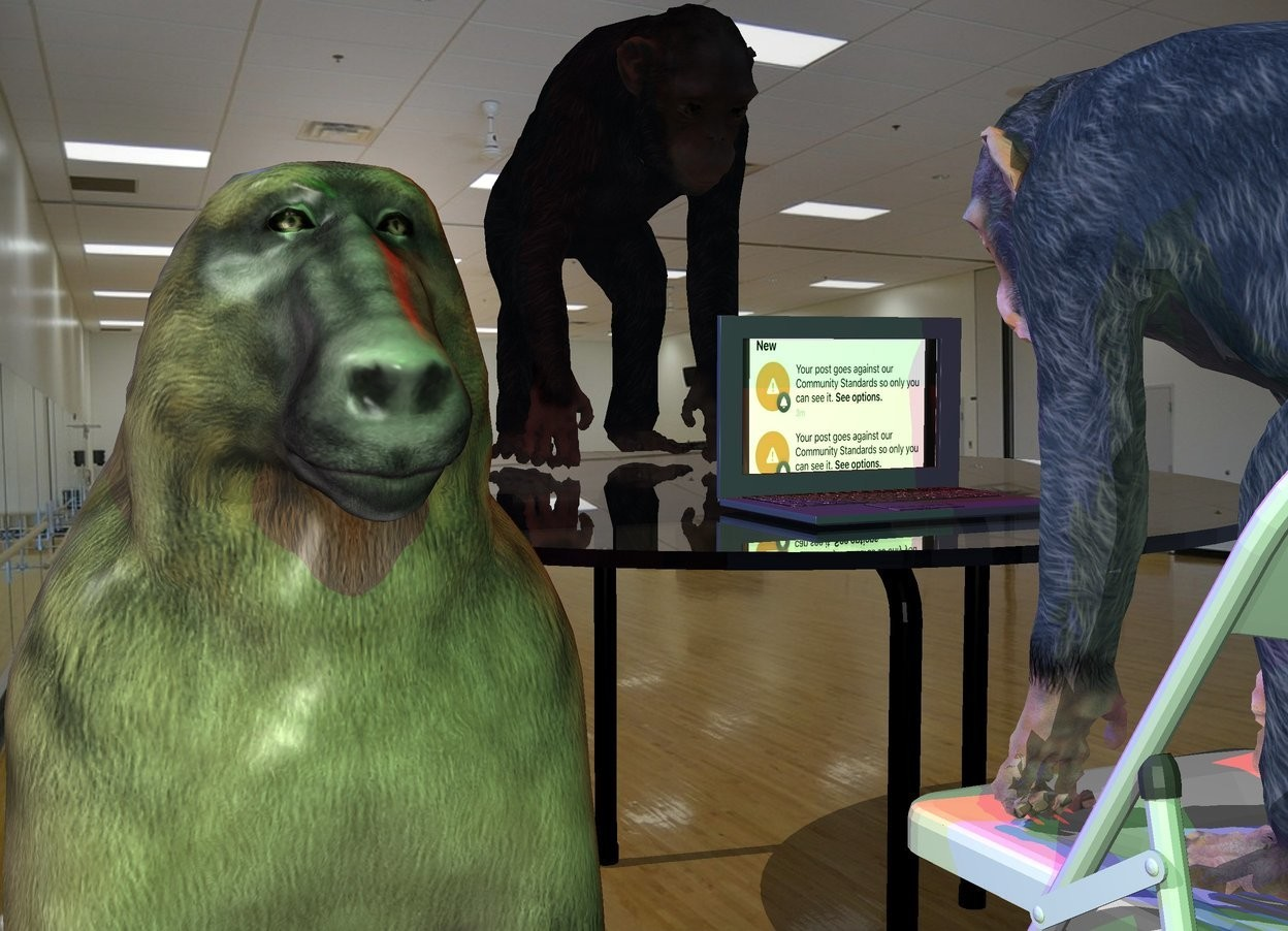Input text: the computer is on the kitchen table in the room. it is -1.5 feet in front of the table. the chair is in front of the table. it is facing back. the small ape is on the chair. another small ape is 1 foot behind the computer. it is facing the computer. the red light is 2 feet above the computer. a blue light is 2 feet to the left and 1 foot above the ape. A 3rd ape is 1.5 feet to the left of the chair. it is 2.5 feet tall. it is leaning 20 degrees to the back. a green light is  1 foot above and 2 feet in front of the 3rd ape.   the [Screen] paper is -10 inches in front of the computer. it is 12 inches wide. it is 9 inches tall.