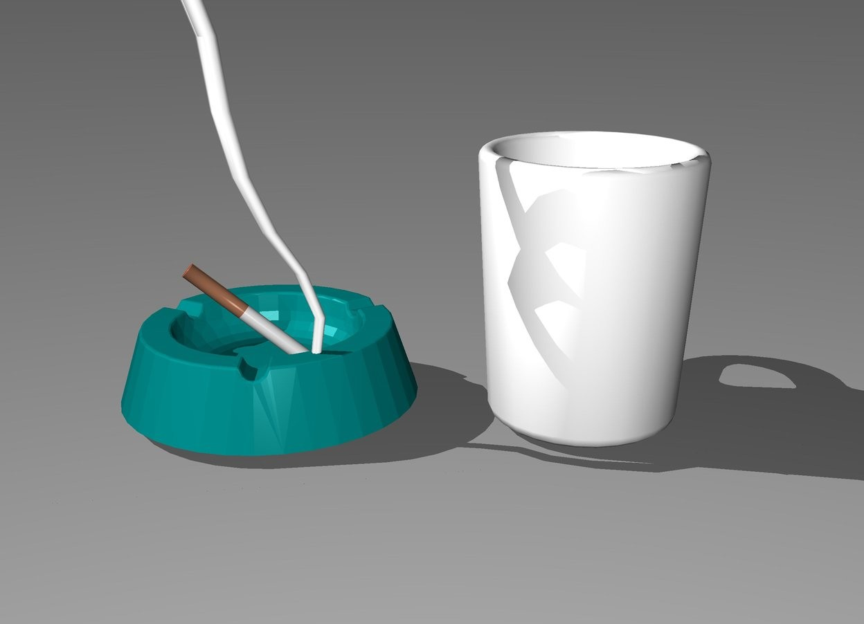 Input text: The ashtray is 1 inch to the left of the coffee cup. the cigarette is in the ashtray. it is leaning 50 degrees to the right. the white lightning bolt is -1 inches above and -13.4 inches to the right of the ashtray. it is -7.2 inches in front of the ashtray. it is upside down. it is 50 inches tall.