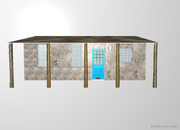 Input text: 1st 15 feet long and 3 feet tall cement wall. 2nd 3 feet long and 6 feet tall cement wall is -3 feet left of and on the 1st wall. 1st window is right of the 2nd wall. 3rd 5 feet long and 6 feet tall cement wall is right of the window. 2nd window is right of the 3rd wall. 4th 2 feet long and 6 feet tall cement wall is right of the 2nd window. a door is right of the 1st wall. 5th 3 feet long and 9 feet tall cement wall is right of the door. 6th 3 feet long and 4 feet tall cement wall is right of the 5th wall. 3rd 3 feet tall and 3 feet wide window is .01 inch above the 6th wall. 7th 3 feet long and 9 feet tall cement wall is right of the 6th wall. 8th 3 feet long and 1 feet tall cement wall is on the 1st window. 9th 3 feet long and 1 feet tall cement wall is on the 2nd window. 10th 3 feet long and 2 feet tall cement wall is on the door. 11th 3 feet long and 2 feet tall cement wall is on the 3rd window. 12th 27 feet long and 20 feet tall and 1 inch deep [metal] wall is -27 feet left of and 5 feet above the 1st wall. it leans 97 degrees to the front. 1st 8 feet tall and .7 feet wide log is -1 feet left of and 9 feet in front of the 1st wall. 2nd 8 feet tall and .7 feet wide log is 6 feet right of the 1st log. 3rd 8 feet tall and .7 feet wide log is 6 feet right of the 2nd log. 4th 8 feet tall and .7 feet wide log is 5 feet right of the 3rd log. 5th 8 feet tall and .7 feet wide log is 6 feet right of the 4th log. the ground is 5 feet wide cement. a white lantern is .5 feet right of and -1 feet above and .5 feet in front of the door. the window pane of the lantern is transparent. backdrop is white.