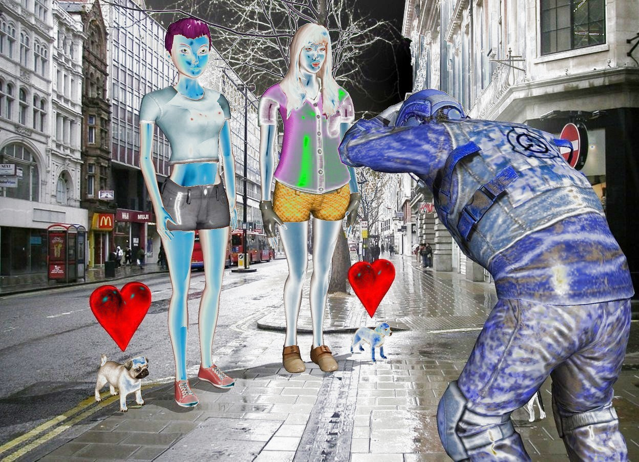 Input text: The city backdrop. The two people are three feet in front of the man. They are facing the man. A dog is to the right of the people. It is facing the man. The small heart is above the dog. A second puppy is to the left of the people. It is facing the puppy. A 2nd small heart is above the second puppy.