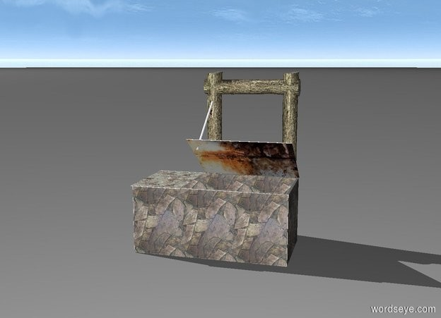 Input text:  1st 6 feet long and 2.7 feet tall and 1 inch deep rock wall. 2nd 3 feet long and 2.7 feet tall and 1 inch thick [rock] wall is -1 inch right of and -1 inch behind the 1st wall. it faces left. 3rd 3 feet long and 2.7 feet tall and 1 inch deep [rock] wall is -1 inch left of and -1 inch behind the 1st wall. it faces left. 4th 6 feet long and 2.7 feet tall and 1 inch deep [rock] wall is -1 inch behind and -6 feet left of the 3rd wall. 5th 2 feet long and 3.1 feet tall and .2 inch deep [rock] wall is -1.95 feet left of and -3.05 feet in front of and -.2  inch above the 1st wall. it leans 90 degrees to the back. 6th 4 feet long and .2 inch deep and 3.1 feet tall [metal] wall is -3.95 feet right of and -1 inch in front of and on the 4th wall. it leans 55 degrees to the front. 1st 7 feet tall .7 feet wide log is -2.7 feet left of and behind the 4th wall. 2nd 7 feet tall and .7 feet wide log is -.8 feet right of and behind the 4th wall. 3rd 4 feet tall and .7 feet wide log is -1 feet above and -4 feet right of the 2nd log. it leans 90 degrees to the right. 1st 2.8 feet tall and 1 inch wide tube is -3 feet above and  -2 inch in front of the 1st log. it leans 128 degrees to the front. a 4 inch tall and 1 inch wide and 1 inch deep  [metal] wheel is -1.95 feet above and .1 inch in front of the 1st log. it faces left.