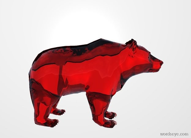 Input text: THE WHITE BACKDROP. There is a 0.1 meter tall transparent red bear.