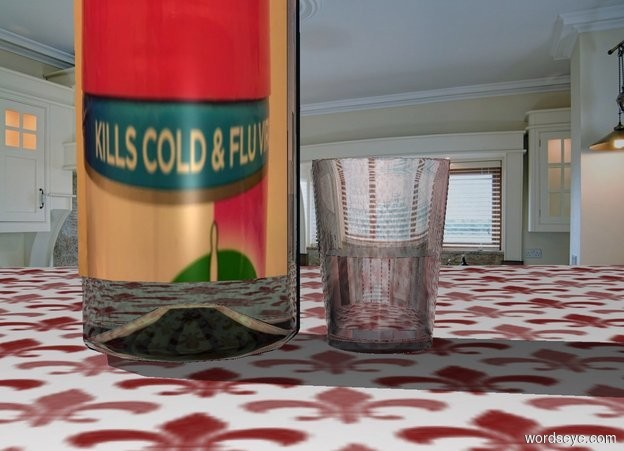 Input text: A whisky bottle is in a kitchen. It is on a brown pattern table. The label of the bottle is image-14976. A 1.5 inch wide and 1.5 inch deep and 2 inch high brown glass is right of the bottle. It is on the table.