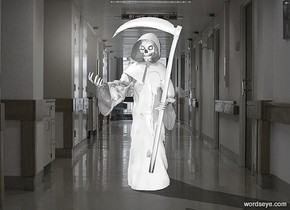a hospital backdrop.a 1st 20 inch tall shiny gray grim reaper.sky is gainsboro.