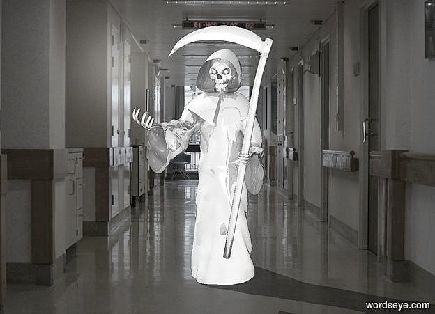 Input text: a hospital backdrop.a 1st 20 inch tall shiny gray grim reaper.sky is gainsboro.