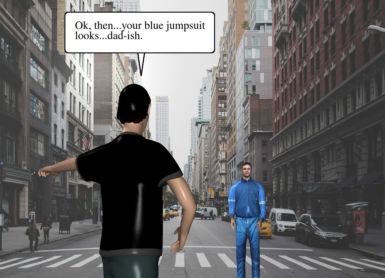 Input text: street backdrop.  A large boy is 30 feet in front of a large man. he is facing back.