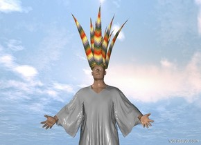 The 3 foot tall [rainbow] century plant is -0.1 meters above and -3.4 feet left of and -2.5 feet in front of the man.