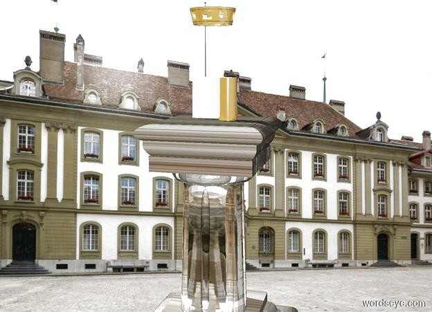Input text: A golden roll is on top of a marble pedestal in a palace. There is a golden crown 1.1 feet above the roll