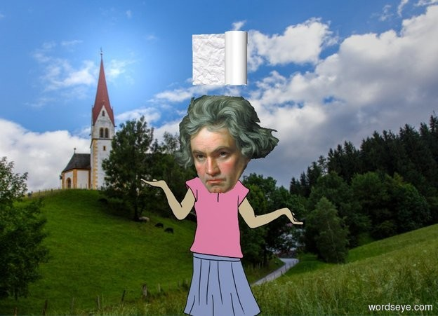 Input text: the roll is two inches above beethoven. beethoven is in germany.