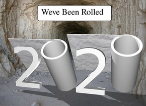 "The ""2 2"". the 1st large roll is -20 inches above and -25 inches to the left of the ""2 2"". The roll is leaning 40 degrees to the front. A 2nd large  roll is -14 inches to the right of the ""2 2"".the 2nd roll is leaning 40 degrees to the front."