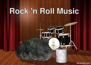 the large roll is 3 inches right of the rock. the rock is on the stage.  the drum kit is two feet behind the rock.