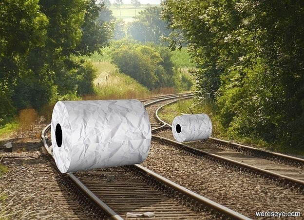 Input text: backdrop is railroad. 1st roll leans 87 degrees to the front. 2nd small roll is .58 feet  behind and -.1 feet left of the 1st roll. it leans 89 degrees to the front.