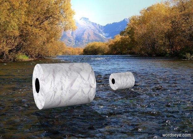 Input text: backdrop is river. 1st roll leans 87 degrees to the front. 2nd small roll is .58 feet behind and -.1 feet left of the 1st roll. it leans 89 degrees to the front.