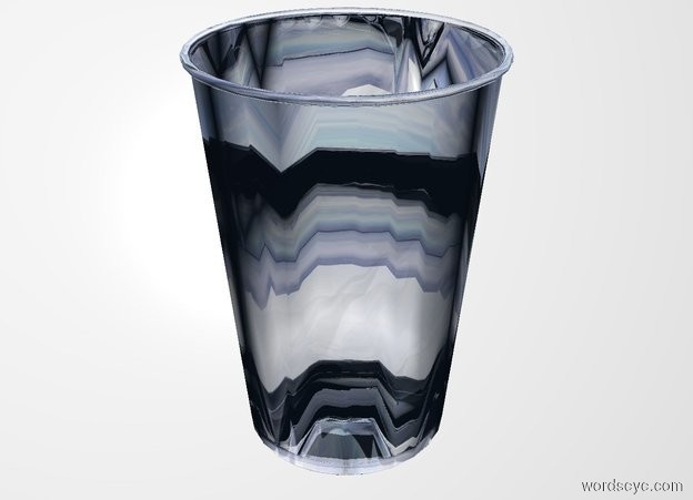 Input text: THE WHITE BACKDROP. There is a glass cup.