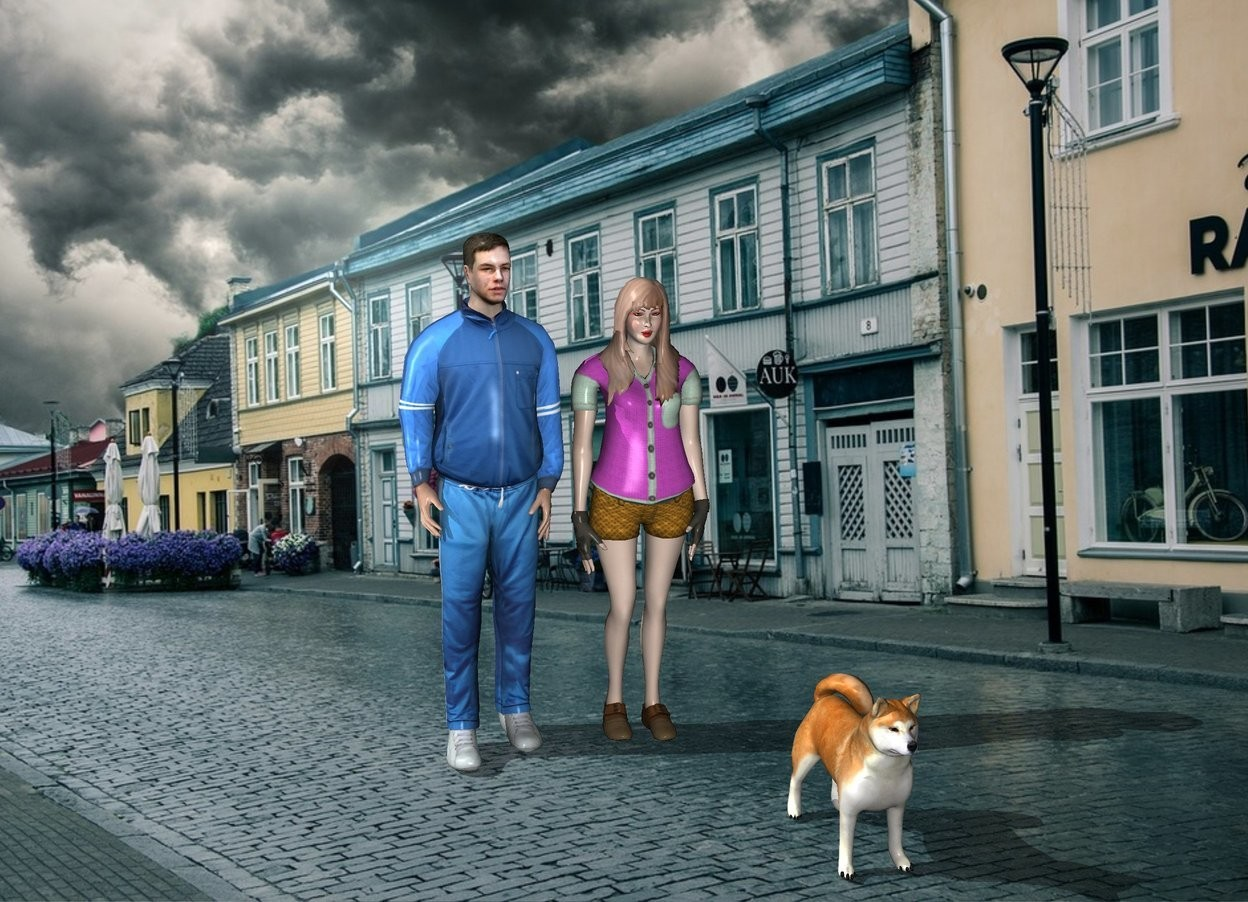 Input text: the man is next to the woman. The dog is 2 feet in front and to the right of the woman.